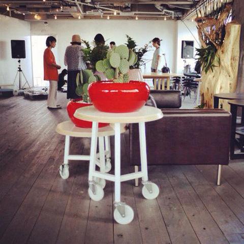 車輪家具の植物鉢